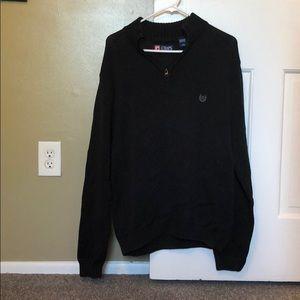 Chaps Black 1/4 Zip Up Sweater